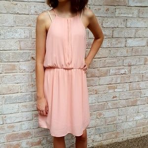 Francesca's | rose gold halter dress S